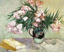 Still Life: Vase with Oleanders and Books (Giclee)