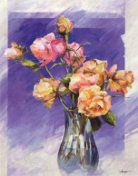 Roses with a Blue Vase