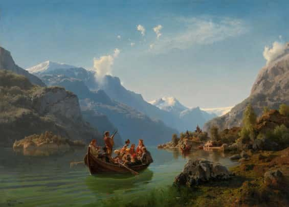 Adolph Tidemand  Hans Gude - Bridal Procession On The Hardangerfjord