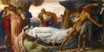 LOW Hercules_Wrestling_with_Death_for_the_Body_of_Alcestis,_by_Frederic_Lord_Leighton,_England,_c._1869-1871,_oil_on_canvas_-_Wadsworth_Atheneum_-_Hartford,_CT_-_DSC05068