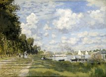 Claude Monet – Musée d'Orsay RF 2010. Title: Le bassin d'Argenteuil. Date: c. 1872. Materials: oil on canvas. Dimensions: 60 x 81 cm. Inscriptions: Claude Monet (lower left).  Nr.: RF 2010. Source: http://commons.wikimedia.org/wiki/File:Claude_Monet_-_Bassin_d'Argenteuil_-_Google_Art_Project.jpg. I have changed the contrast of the original photo.