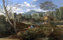 Nicolas Poussin – Museo del Prado P02310. Title: Landscape with Buildings. Date: 1648-1650. Materials: oil on canvas. Dimensions: 120 x 187 cm. Nr.: P02310. Source: https://www.museodelprado.es/uploads/tx_gbobras/P02310.jpg. I have changed the light, contrast and colors of the original photo.