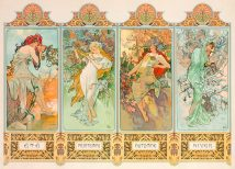 45x32 THE 4 SEASONS by ALPHONSE MUCHA