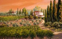 Coral Skies Over Tuscany (Giclee)