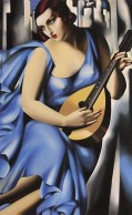 Woman in Blue with Guitar