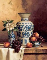 Blue & White Oriental Still Life with Peaches & Grapes