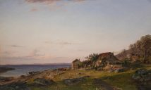 Amaldus Clarin Nielsen – The Royal Collections (Norway). Title: Aftenstemning/Evening Mood. Date: 1883. Materials: probably oil on canvas. Dimensions: ? Source: https://commons.wikimedia.org/wiki/File:Amaldus_Nielsen_-_Aftenstemning_(1883).jpg.
