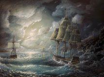 Ocean Storm ships Dark CLOUDS waves lighthouse