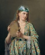 Lady Playing the Tambourine Pierre Désiré Guillemet 24x32